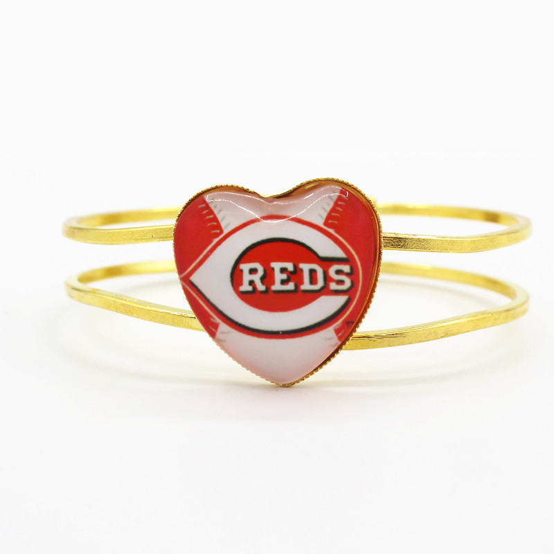 Hot 6pcs/lot sports baseball team Cincinnati Reds floating charms heart alloy bracelet for man woman bracelets jewelry