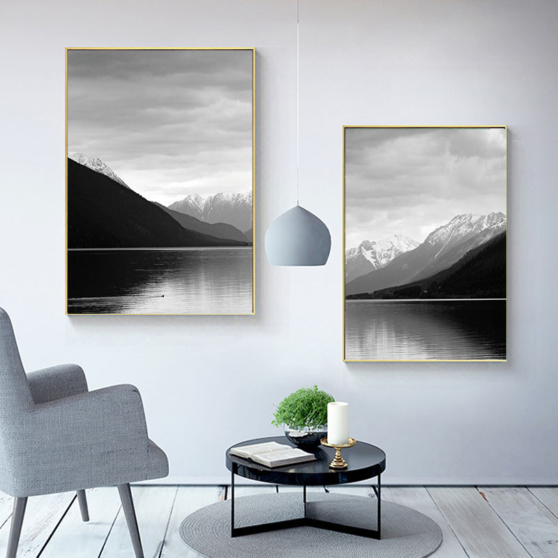 Modern Wall Art Mountain Landscape Print Black and White ...