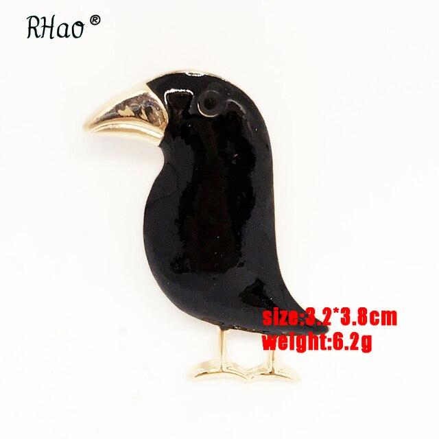Фото мужская/женская брошь в виде вороны черная форме птицы на эмали