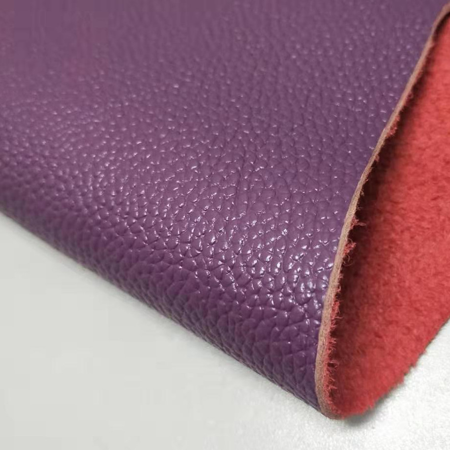 Purple top layer cowhide leather leather sofa furniture bed soft bag leather fabric whole cowhide violet image