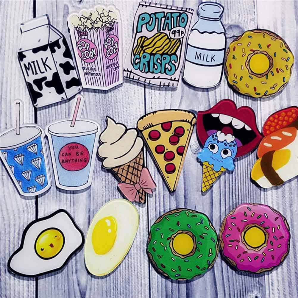 1 PC DIY Cute Food Drink Ice Cream Milk Pizza Acrylic Badge Children Pin Brooch