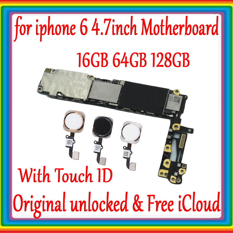 for iphone 6 4.7inch Factory unlocked Motherboard With/ Without Touch ID 100% Original for iphone 6 Logic board 16GB 64GB 128GBfor iphone 6 4.7inch Factory unlocked Motherboard With/ Without Touch ID 100% Original for iphone 6 Logic board 16GB 64GB 128GB