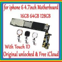 Для iphone 6 4,7 дюймов Заводская разблокированная материнская плата с/без Touch ID 100% оригинал для iphone 6 логическая плата 16 Гб 64 Гб 128 ГБ