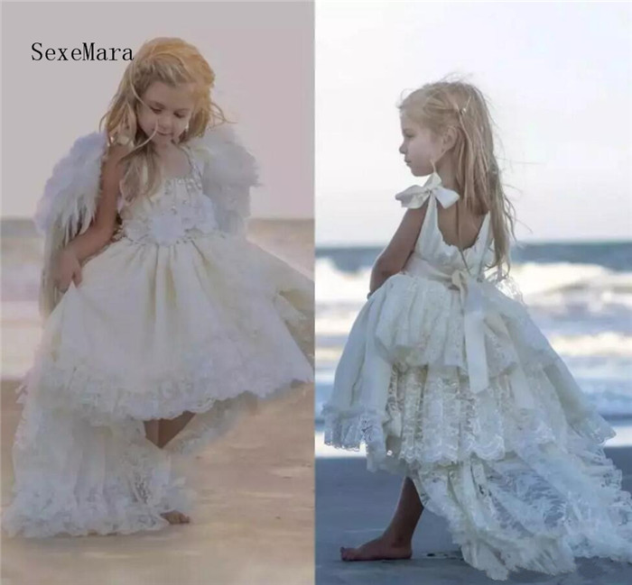 Ivory White New Flower Girl Dresses Lace Beading Spaghetti High Low Beach Girls Pageant Dresses Birthday Gownw Size 2-16Y fashionable spaghetti strap ink painting high low dress