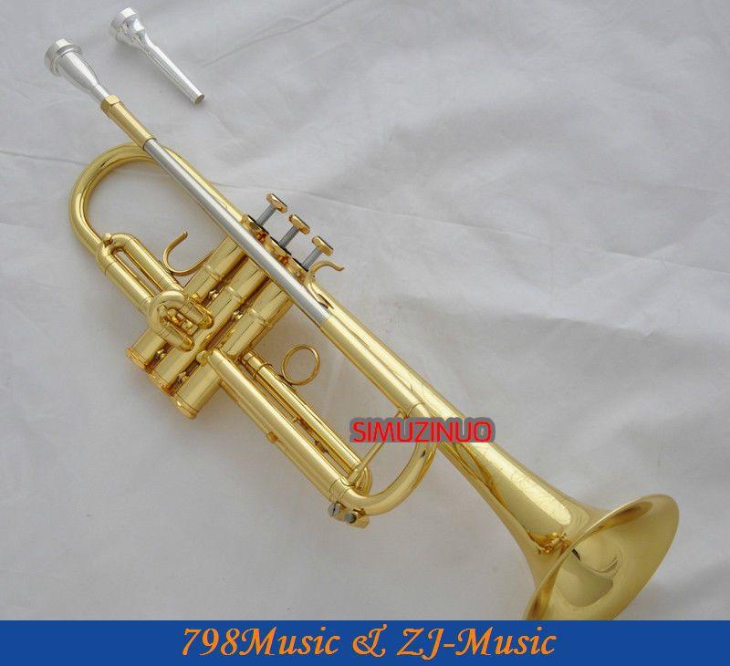 Profesionální nová zlatá jazzová trumpeta 3 Monel Valve Abalone Keys B-plochá houkačka + pouzdro
