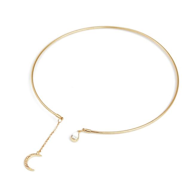 e3531cad799f Estilo europeo abierto círculo gargantilla collar oro color Luna rhinestone Colgantes  Collar para las mujeres moda