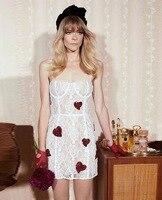 New Fashion Women Dress Strapless Strap Lace Red Heart Mini Bandage Dress Evening Party Dress