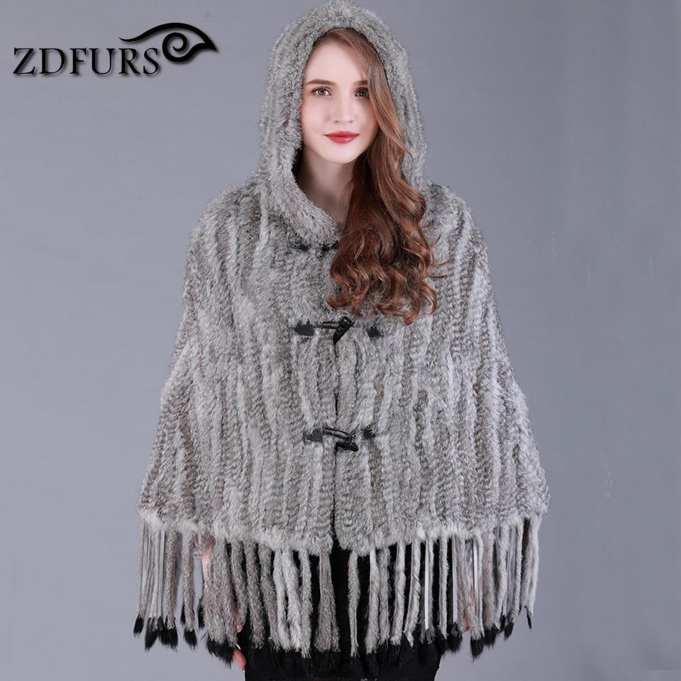 ZDFURS * New Women Genuine Rabbit Fur Shawl with hood Fur Poncho Female hat and tailfashion fur shawl cloak tassel hooded cape