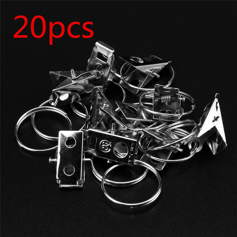 20pcs Stainless Steel Window Shower Curtain Rod Clips Hook Clips Drapery Rings Hot Sale Wholesale Free Shipping 30RI11