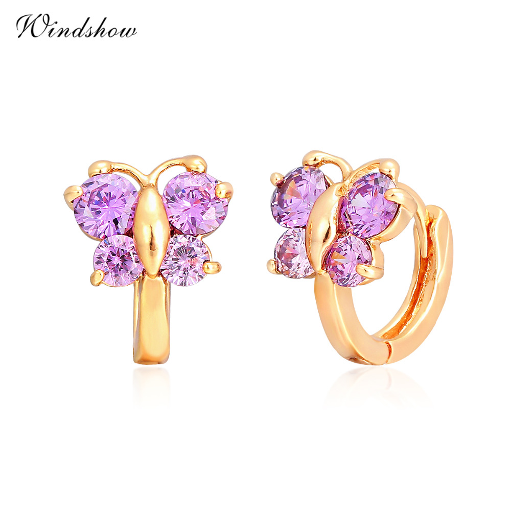 Baby Girls Huggies Small Hoop Earrings Yellow Gold Color Butterfly Purple  Cz Cute Jewelry For Kids