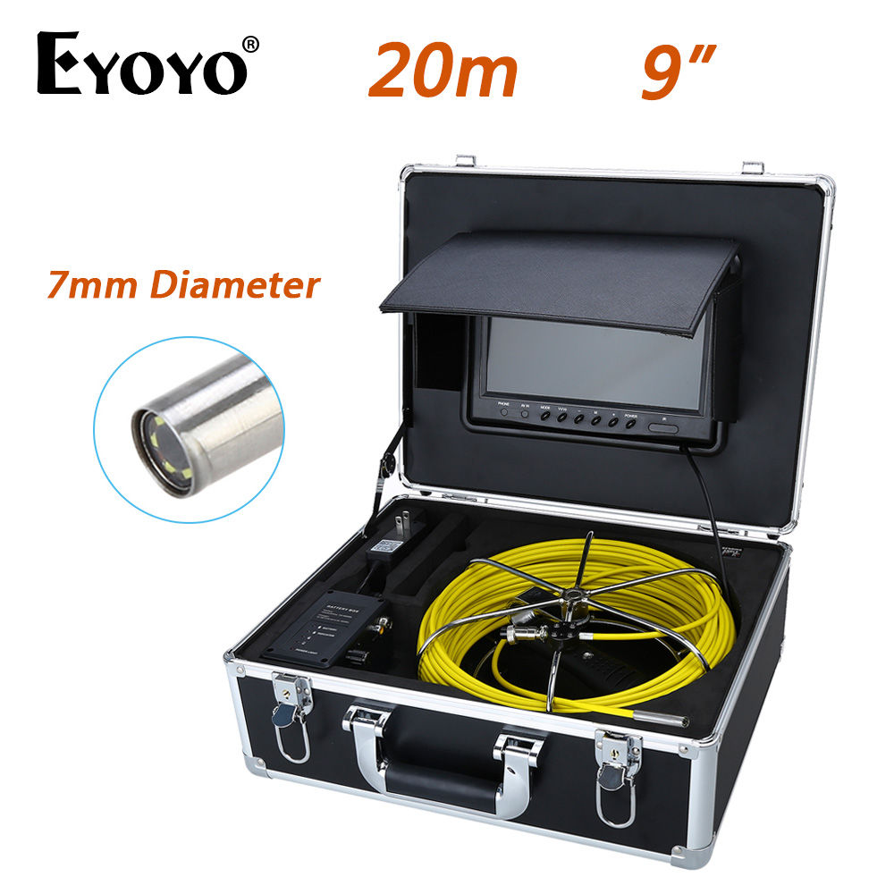 Eyoyo 20M 9LCD 7mm Wall Drain Sewer Pipe Line Inspection Camera System CCTV Cam CMOS 1000TVL Snake Inspection TFT HD Sun shield eyoyo wp90b 20m 9lcd 17mm wall drain sewer pipe line inspection camera system cctv 1000tvl hd snake inspection color sun shield