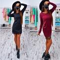 Womens Dresses 2016  O Neck Long Sleeve Bodycon Sheath Lace Patchwork Casual Dress Red Black Autumn Female Vestidos Plus siz