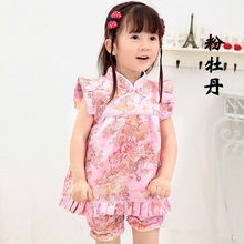 2019 Chinese Style Floral Qipao Childrens Sets New Year dresses short pants cheongsam
