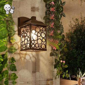Outdoor Square Shade Wall Lamp Fixture Waterproof Modern Minimalist Vintage Sconce Light for Yard Balcony Corridor E27 E26 Bulb