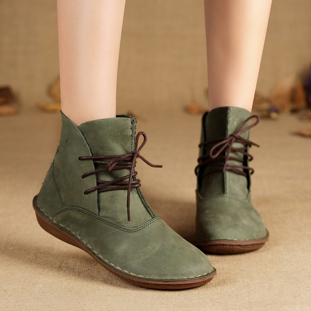 09d4505d25f6 New Handmade Women Boots Genuine Leather Ladies Shoes Spring Autumn Lace up  Ankle Boots Female Footwear