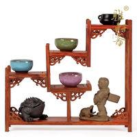 Small red sandalwood curio shelf mahogany carved ornaments teapot base wood frame table of exquisite workmanship