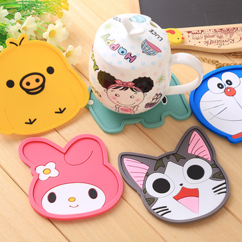1pc Fashion Creative Cartoon Silicone cat Yellow Duck Rabbit Coffee Table Coaster High Temperature Resistanced Drink Cup Mat coffee table