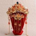 Старинные Китайский Стиль Свадебные Украшения Наборы Свадебные Аксессуары Головной Убор Волосы Невесты Корона Позолоченные Кристалл Шпильки Серьги