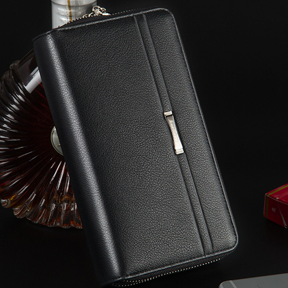 Business Men Luxury Wallets Long PU Leather Cell Phone Clutch Wallet Purse Hand Bag Top Zipper Large Wallet Card Holders
