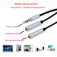 Mobile phone headset 1 minute 2 converter Connect computer audio headset microphone 2 in 1 adapter Multiple colors available