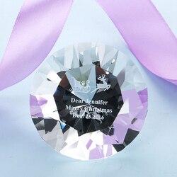 H & D niestandardowy prezent rzemiosło kryształowy diament figurki jasny szklany przycisk do papieru dekoracje na stół prezent ślubny 60MM