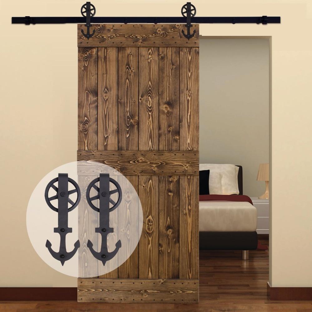 LWZH American Country Steel Sliding Barn Door Hardware With Big Rollers For Single Door Black 6.6FT/7FT/8FT/9FT For Single Door