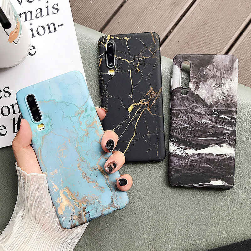 Classical Cracked Marble Case For Huawei P20 P30 Pro Lite Mate 20 Pro Honor 10 Lite P Smart 2019 Full Body Hard PC Back Cover