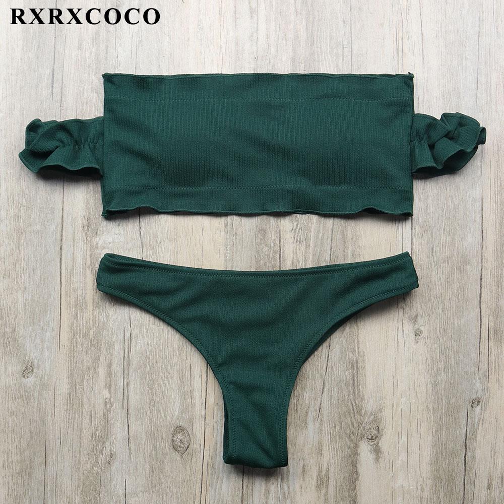 RXRXCOCO Bikini Set 2018 Sexy Off Shoulder Bandeau Swimwear Women Strapless Solid Push Up Low Waist Bathing Suit Beach For Femme