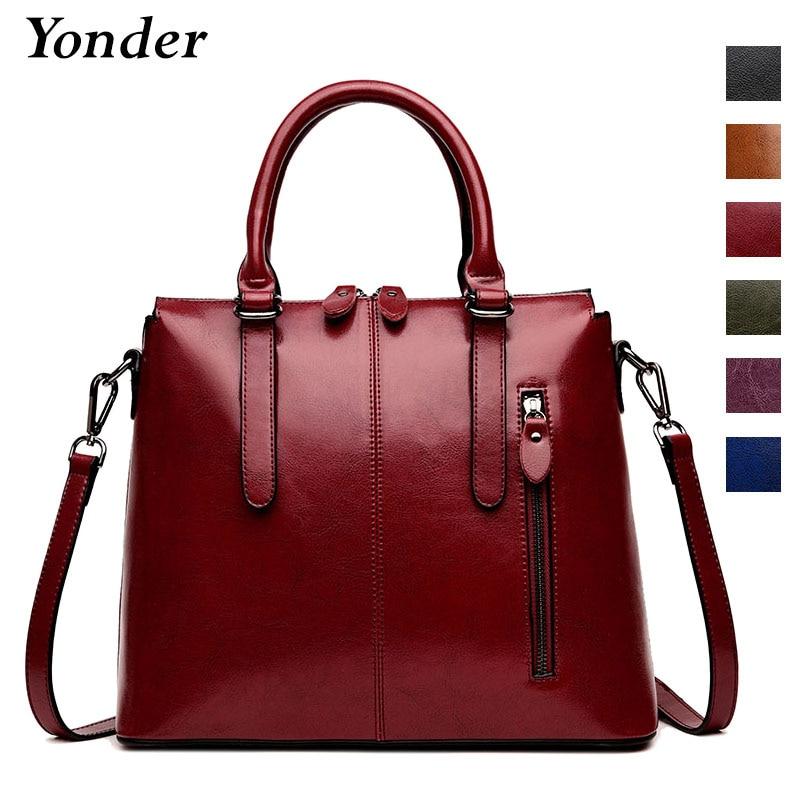 Yonder shoulder bag tote women genuine leather ladies handbags designer high quality brown large crossbody messenger