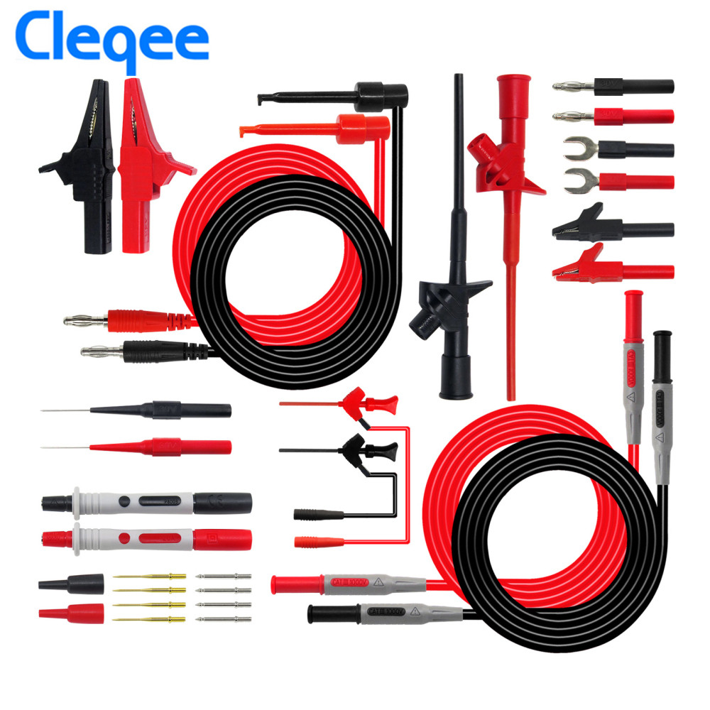 Cleqee P1600D 10 in 1 Electronic Test Lead Kit Probes for Multimeter Universal Test Probe Flexible Test Probe Banana Plug cleqee p1300a 10 in 1 super multimeter probe replaceable probe clamp multi meter test lead kits 4mm banana plug test line cable