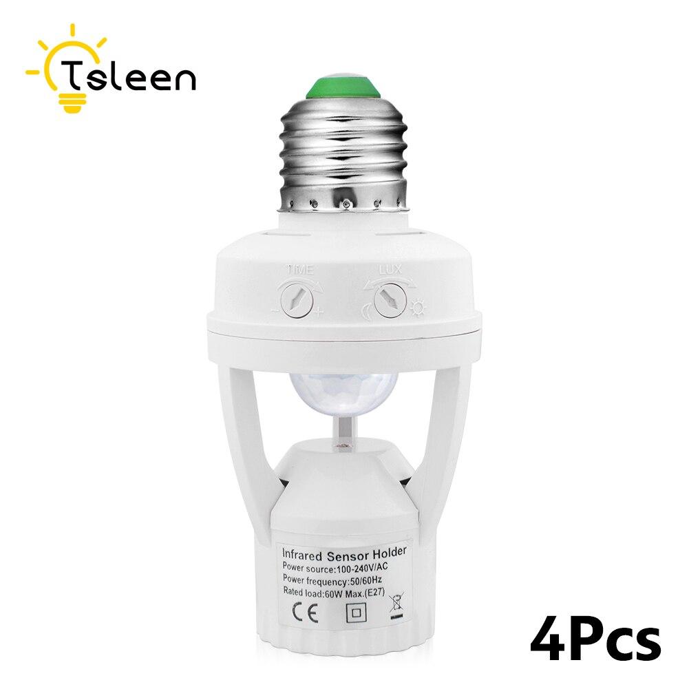 4Pcs AC110-220V 360 Degrees PIR Induction Motion Sensor IR infrared Human E27 Plug Socket Switch Base Led Bulb light Lamp Holder