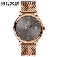 AGELOCER Mesh Band Watch Date Business Watches Bling Bling Gold Men Sapphire Wristwatch New Fashion Top