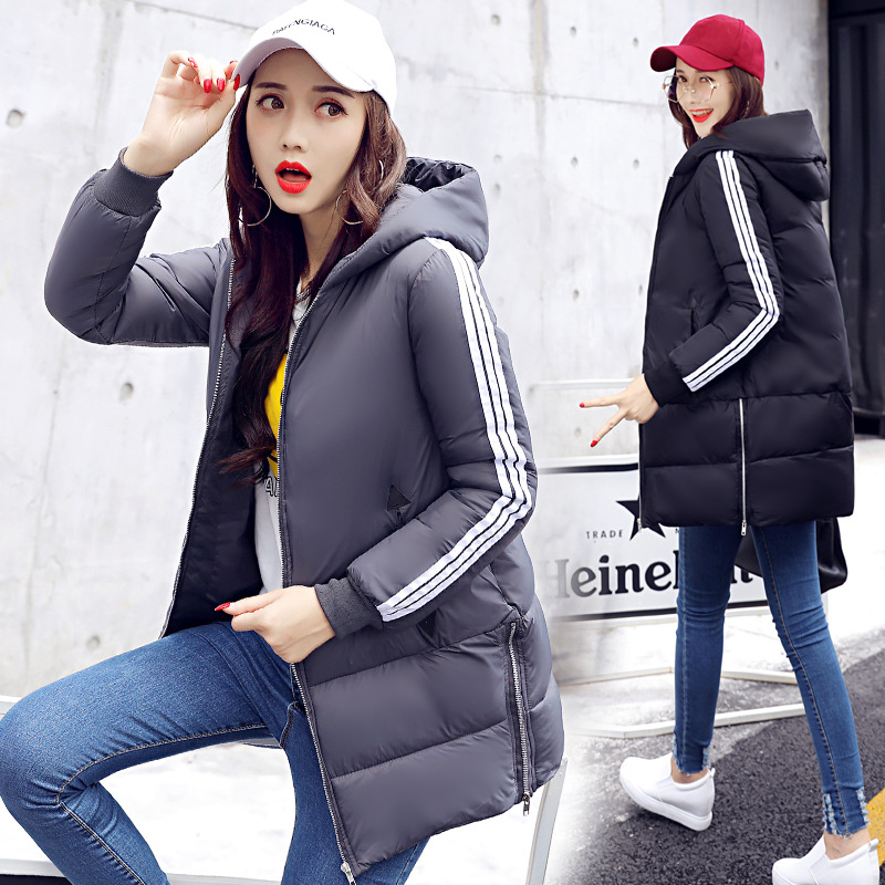 2017 autumn and winter new fashion casual women in the long paragraph loose women's cotton jacket jacket cotton hooded jacket 2016 autumn winter women s casual fashion not as long as before and after long section side seam zipper bags seven snowflakes