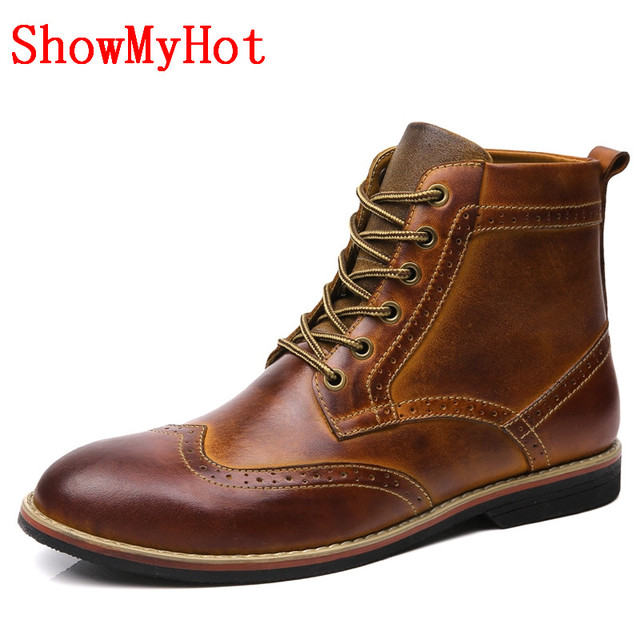 Vintage Moccasins Winter Boots Men Ankle Boots Warm Winter