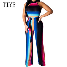TIYE Summer Women Rompers Vintage Printed Stripe Jumpsuit Sexy Sleeveless Casual Wide Leg Halter Retro Elegant Party Overalls