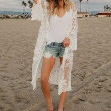 0fa7a543c3a3a Women Lace Cardigan Kaftan Shawl Coat Beach Wear Swimwear Cover Up Summer Blouse  Tops Cape Pareo