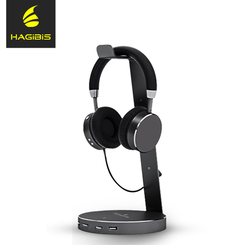 Hagibis Headset Headphone stand Holder With 4 Ports of 2.0 Usb Hub Display for Headphones bracket and Headphone Cable Storage