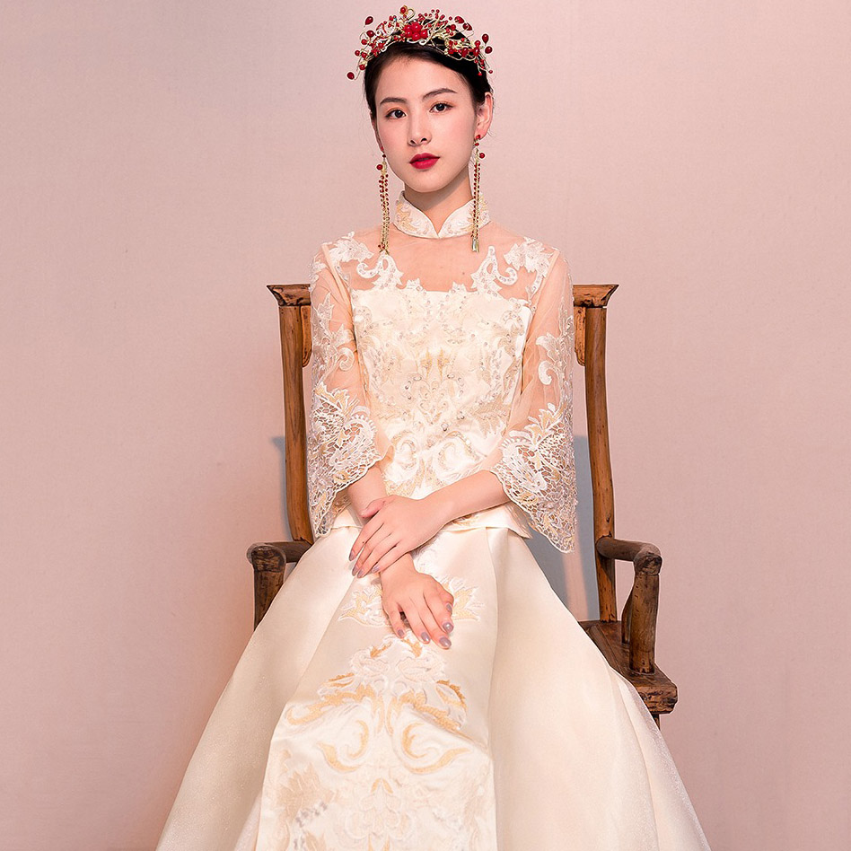 Female Marriage Dress Suit Chinese Style Ancient Cheongsam Embroidery Sequins Qipao Vintage Hanfu Clothing Sexy Lace Vestidos