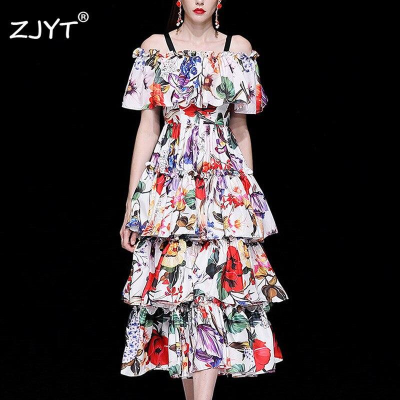 Mode Designer robe de piste femmes 2019 printemps élégant arc col manches longues imprimé Floral Mini vert mousseline de soie robe Vestidos