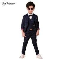 2018 Flower Boys Wedding Suit Brand England Style Gentle Boys Formal Tuxedos Suit Kids Blazer+Pants+Vest 3Pcs Clothing Set F91