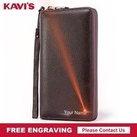 KAVIS Free Engraving Genuine Cow Leather Long Wallet Men Coin Purse Male Clutch Walet Portomonee Handy Gift Man Business Perse