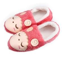 Sheep Appliques Warm Winter Women Couples Home Slippers For Indoor House Bedroom Plush Shoes Soft Bottom Flats Christmas Gift