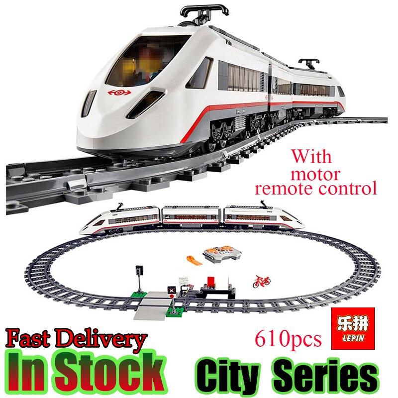 Lepin 02010 Creator Technic High speed Passenger Train Remote control Trucks Set Building Blocks Bricks figures