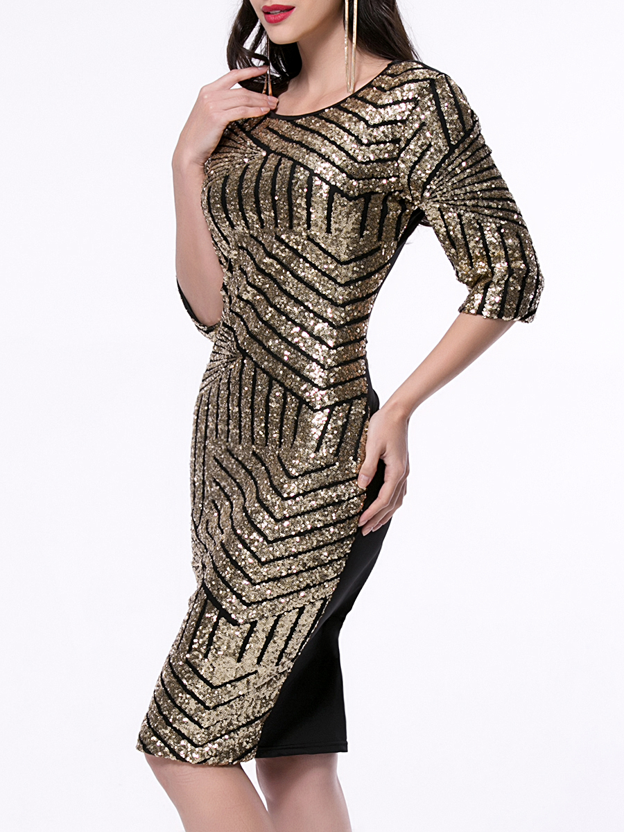Geometric Golden Sequin Bodycon Pencil Evening Party Dress