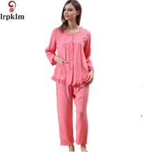Pink Women's Cotton Autumn And Spring Loose Ankle Length Pants Sleepwear Embroidery Plus Size XXL Large Lounge Pajama Set SY69