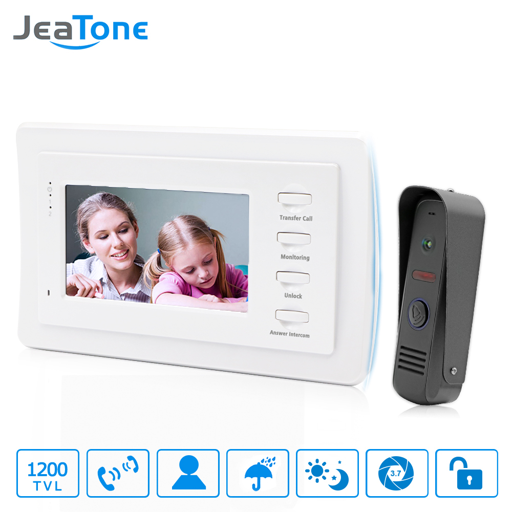 JeaTone 7 inch Video Door Phone Intercom Doorbell System Home Security Waterproof Night Vison IR Call Panel + TFT Color Monitor tmezon 4 inch tft color monitor 1200tvl camera video door phone intercom security speaker system waterproof ir night vision 1v1