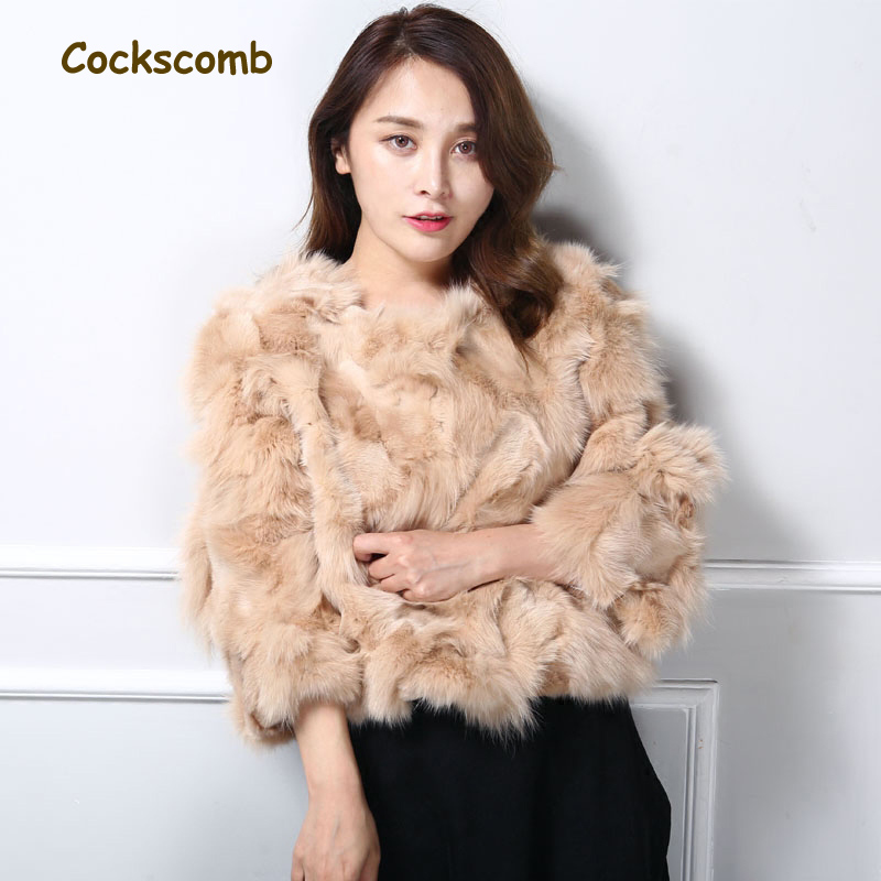 Natural Fox Fur Jackets Women Fashion 3/4 Sleeve O Neck Candy Color Short Design Real Fur Coats For Autumn And Winter