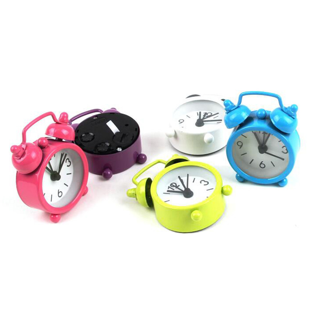 Creative Cute Mini Metal Small Alarm Clock Electronic Small Alarm Clock Alarm Clock Mens Watches Alarm Clock Button Electronics(China)