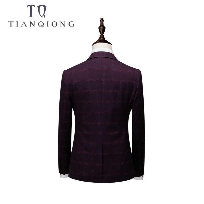 ブランドファッション男性スーツ 2018 ニュークラシック 3 ピースメンズ結婚式新郎スーツスリムフィットメンズチェック柄スーツジャケットパンツベストネクタイ