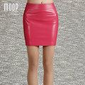 Estilo OL 5 Colores cuero genuino sólido faldas mujeres falda lápiz falda faldas jupe saia etek 100% piel de cordero Envío nave LT606